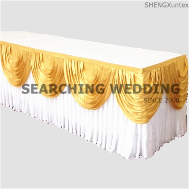 Ice Silk Wedding Table Skirt Include Top Swag Drape Decoration Free ...