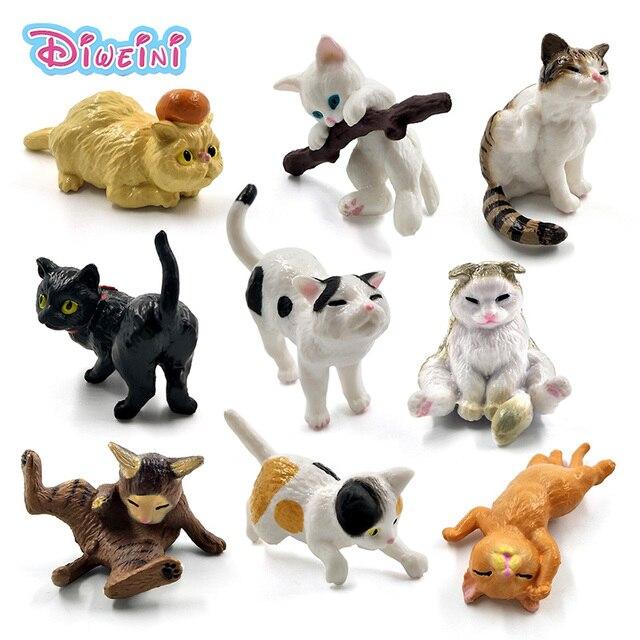 1 pc Jogando Gatinho Miniatura Figuras de ação de uma peça Gato dos desenhos animados de animais de plástico modelo Animal de Estimação Quente brinquedos Casa de Boneca DIY acessórios