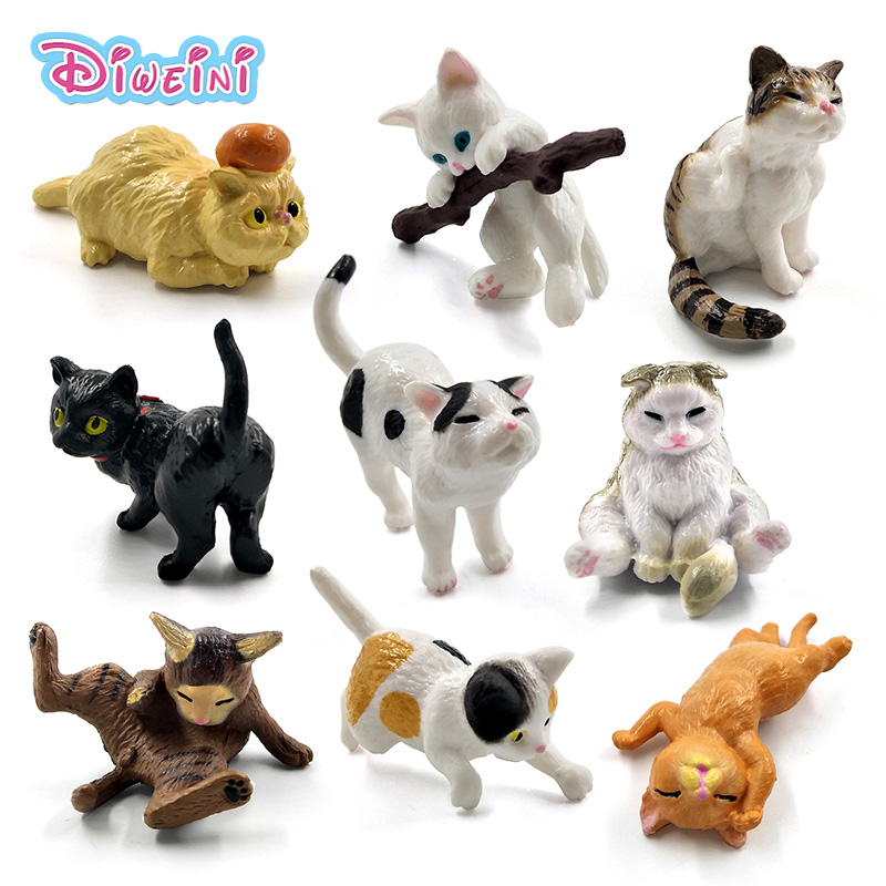 1pc Playing Kitten Miniature One Piece Cartoon Cat Action Figures Plastic Animal Model Hot Pet Toys Doll House DIY Accessories