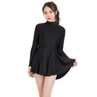 Women ballet dress shinny nylon long sleeve ballet leotard with skirt zipper back leotard skirted leotards