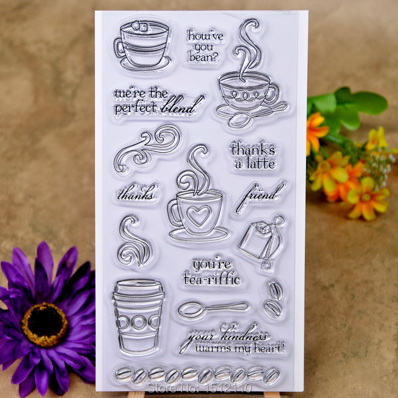 Coffee Thanks A Latte Scrapbook Diy Photo Cards Account Rubber Stamp Clear Stamp Transparent Stamp 10x20cm