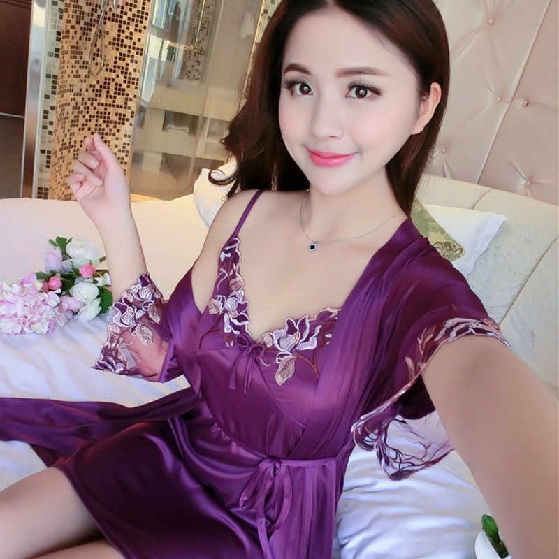 섹시 슬링 잠자는 두 조각 가운 잠옷 세트 2019 새로운 여름 실크 레이스 잠옷 여성 잠옷 nightsuits nightdress w708