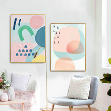 Nordic style ins pink personality abstract decorative paintings Simple and modern living room Hanging pictures Wall paintings цена 2017