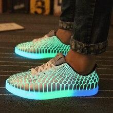 Luxury designer men fluorescent light shoe glowing basket skate new shoes simulation italian brand chaussure lumineuse