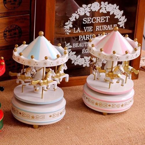 Vintage Blue Wooden Merry Go Round Carousel Classic Music Box Kids Children Girls Birthday Gift Toy