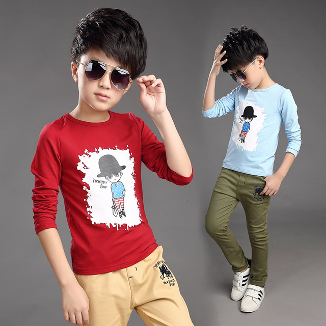 Children clothing 2016 new Korean boys long sleeved t-shirt bottoming shirts A469