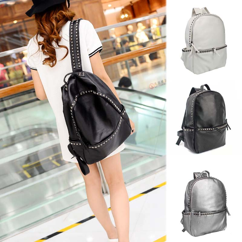 Fashion PU Leather Rivet Backpack Women s Backpacks For Teenage Girls Ladies Bags with Zippers Bags