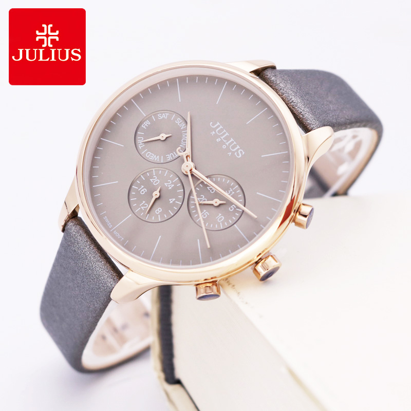 Real Functions Lady Women's Watch ISA Mov't Fine Sport Hours New Fashion Real Leather Girl's Birthday Christmas Gift Julius Box real functions women s watch isa mov t hours clock fine fashion dress bracelet woman sport leather birthday girl gift julius box