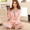 Mujeres desgaste del sueño del satén Pijama de manga larga con cuello en v Pijama suave conjunto de Pijama de moda interior ropa Casual para la noche Home use