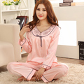 Mulheres Satin sono usar manga longa Pijama com decote em V Pijama macio conjunto de Pijama moda roupa interior noite Casual Wear Home Wear