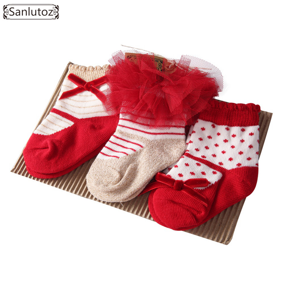 Liberal Sanlutoz Baby Girl Socks For Newborn Baby Socks 3 Pairs Gift Set For Christams Holiday Birthday 0-12 Months Tulle Bow Making Things Convenient For Customers