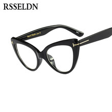 7c7e51050c1374 RSSELDN Nieuwe 2018 Mode Kat Bril Frames Merk Ontwerp Vintage Cat Eye  Brillen Frame Vrouwen Clear Zwarte Luipaard D3079
