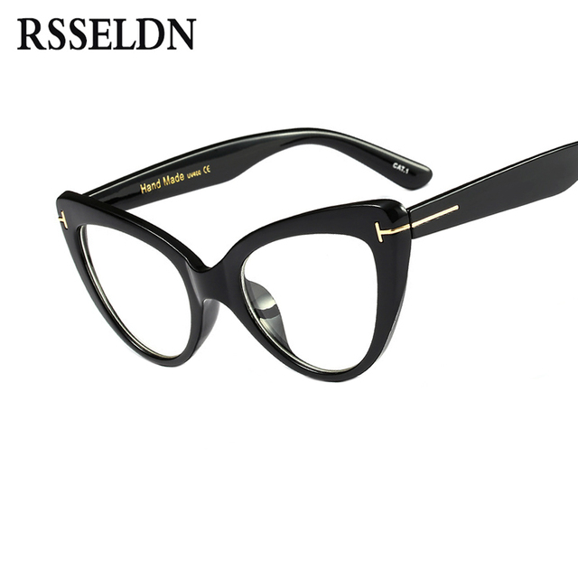 878f3e882a RSSELDN New 2019 Fashion Cat Eye Glasses Frames Brand Design Vintage Cat  Eye Eyeglasses Frame Women