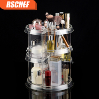 RSCHEF Acrylic Cosmetic Storage Box 360 Degree Rotary Storage Rack Organizer makeup organizer rangement maquillage