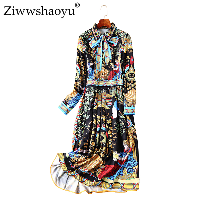 Ziwwshaoyu Diamond Beading Vintage dress Indie Folk Turn-down Collar Draped temperament dress 2018 Autumn New Womenn