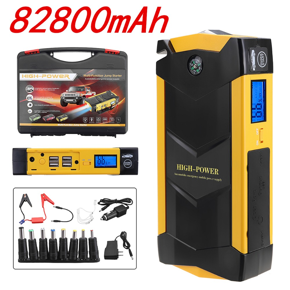 82800 mAh de alta potencia del coche salto de arranque 12 V portátil dispositivo de arranque de coche banco de potencia cargador de batería de coche de refuerzo buster 4 USB