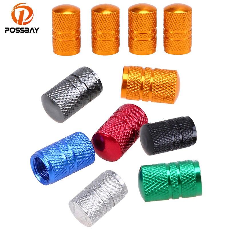 possbay-4x-aluminum-dark-grey-valve-caps-car-wheel-air-valve-universal-truck-bike-motor-dustproof-cap-tyre-wheel-stem-air-valve