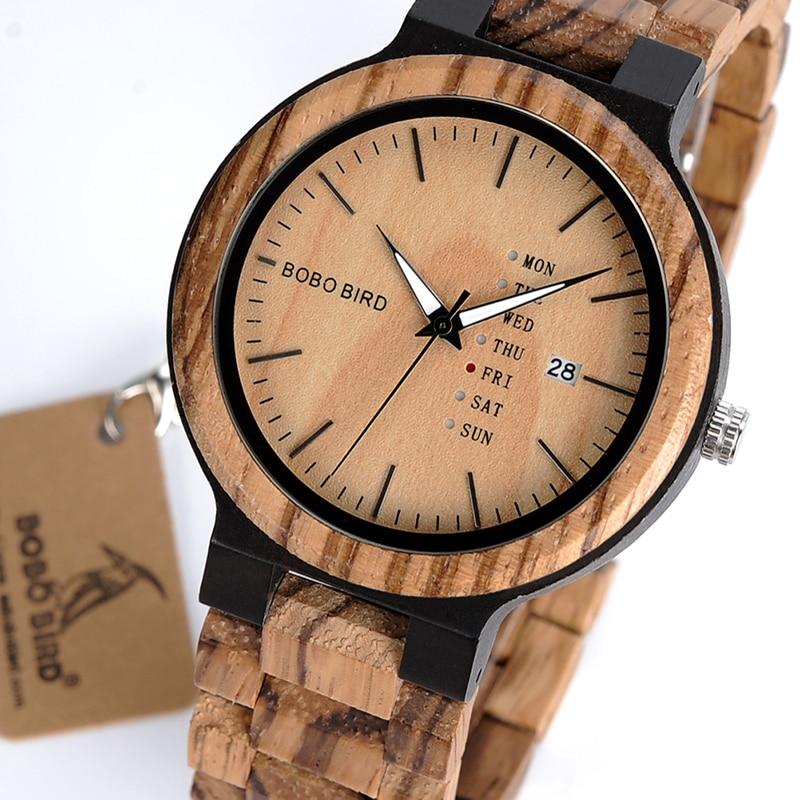 BOBO BIRD hombres de madera relojes Quarzt reloj mostrar la fecha y la semana relojes en regalos caja de madera Saat erkek relojes nave de la gota