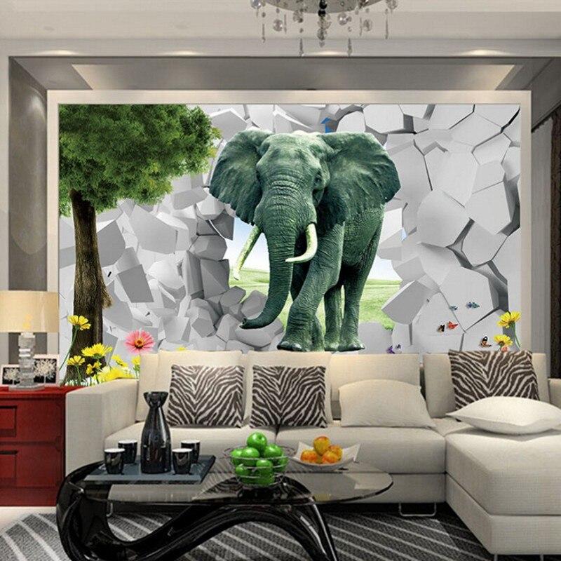 ▻Beibehang moda 3D estereoscópica 3D paisaje abstracto elefante ...