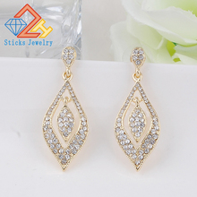 Statement Korean Brides Jewelry Crystal Rhinestones Earring Elegant Long Drop Bridal Wedding Earrings For Women