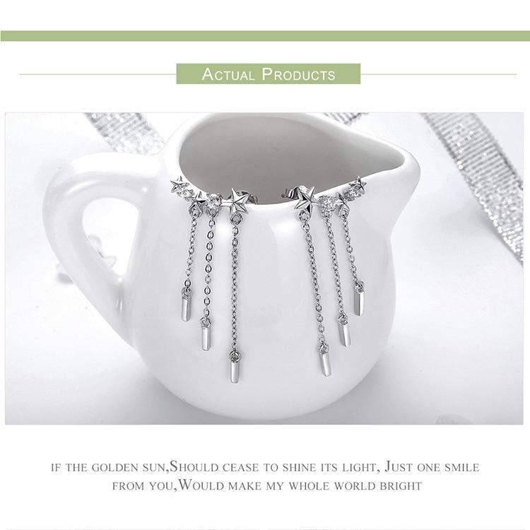 HTB1 MtNdbPpK1RjSZFFq6y5PpXaE BAMOER Genuine 925 Sterling Silver Long Chain Star Dazzling CZ Drop Earrings for Women Fashion Earrings Silver Jewelry SCE399