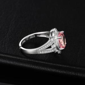 Image 3 - JewelryPalace בציר פיצול Shank 3ct סגלגל נוצר Morganite ספיר מתכוונן להרחיב טבעת 925 כסף סטרלינג תכשיטי ביצוע