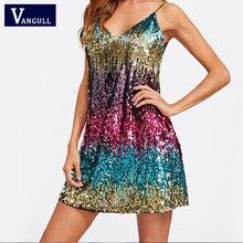 Vangull נצנצים שמלה 2019 חדש אביב קיץ חדש באיכות גבוהה סקסי אופנה V-צוואר הלטר מועדון לילה רצועת חוף ריקוד נצנצים שמלה