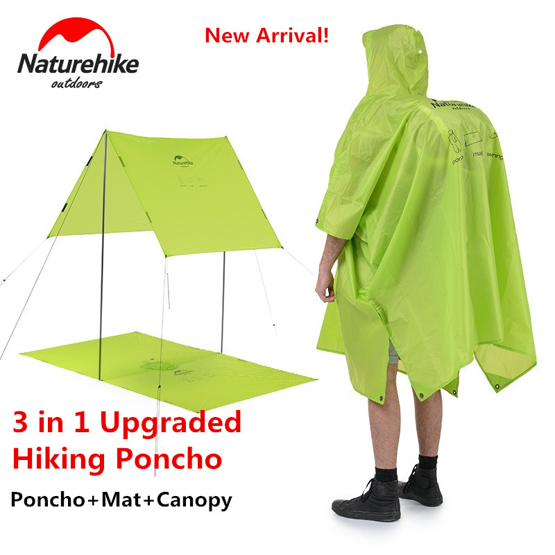 Naturehike Factory Sell Outdoor Mountaineering Walking 3 In 1 Poncho Triad To Groundsheet Awning Raincoat Outdoor Raincoat