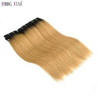 Shiningstar Ombre Honey Blonde Human Hair Weave Bundles Colored 1B 27 Brazilian Straight Hair Toned Dark Roots 1/3/4 Pcs Nonremy