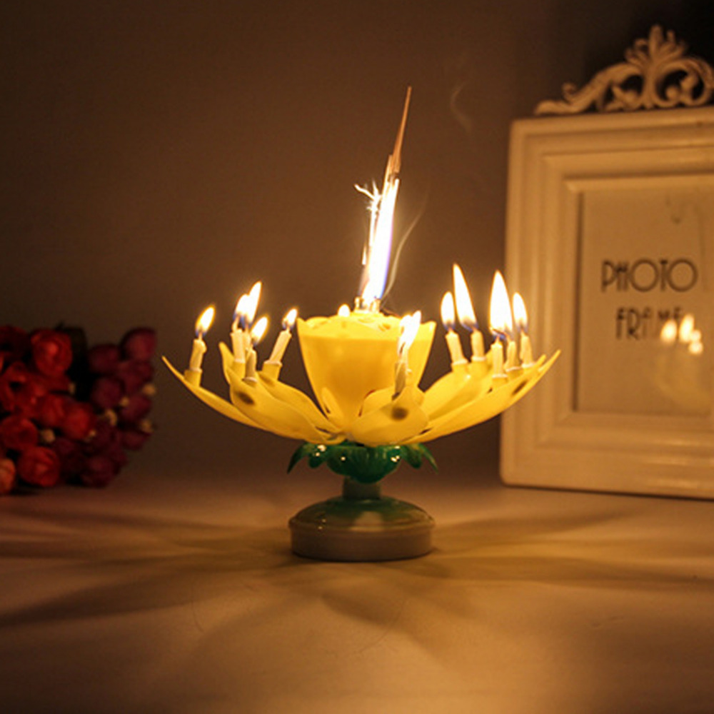 AIHOME 1Pcs Lotus Flowers Musical Candle Birthday Party Cake Topper