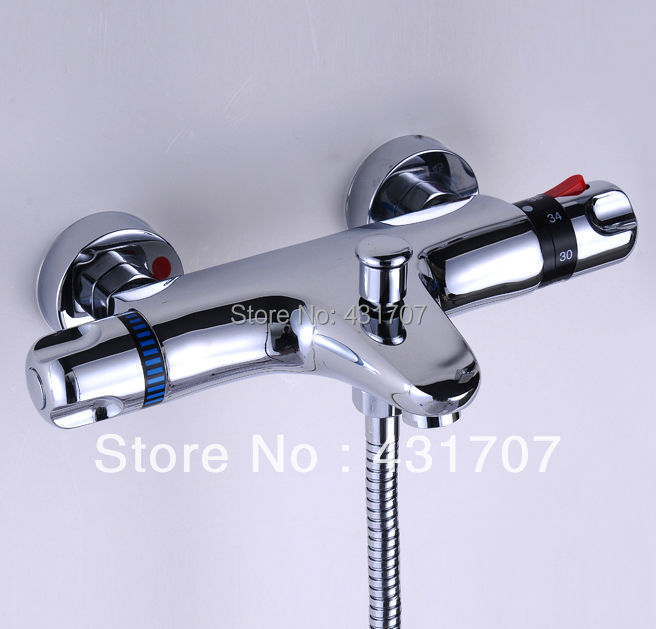 Brass Wall Mounted Two Handle Thermostatic Shower Faucet Thermostatic Mixer For Shower, Chrome Bathroom Faucet modern thermostatic shower mixer faucet wall mounted temperature control handheld tub shower faucet chrome finish