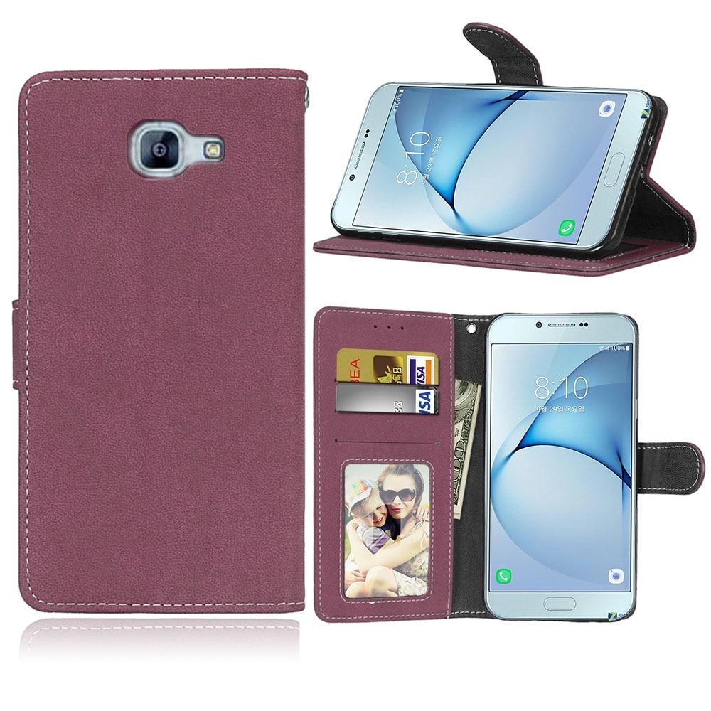 Retro matné kožené pouzdro pro Samsung Galaxy A520 A5 2017 Stojan na filmové stojany Klasická peněženka Foto rámeček pro Samsung A5 2017