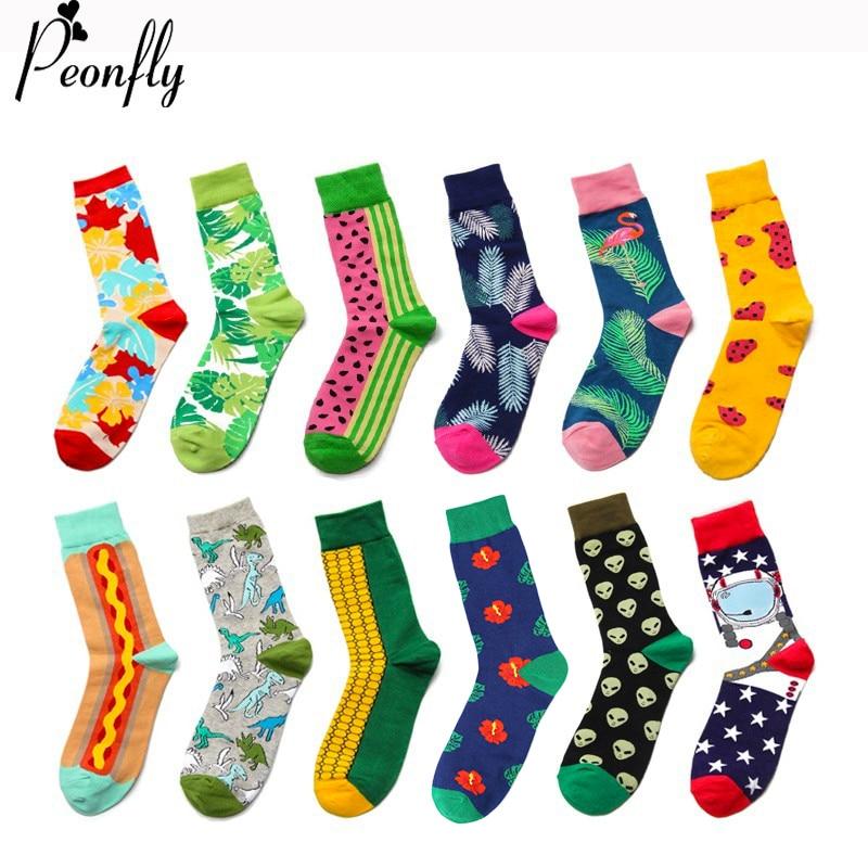 PEONFLY Casual Cotton Men Colorful Cartoon Animals Plant Food Pattern Socks Harajuku Jacquard Street Hip Hop Funny Happy Socks