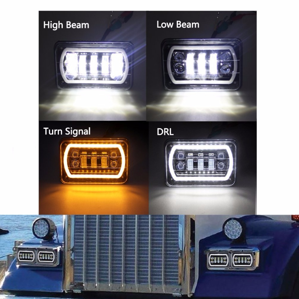 4x6 led Headlights 4x6 Sealed Beam Rectangular Replacement with DRL Amber Halo Turn Signal For Chevrolet Ford Trucks