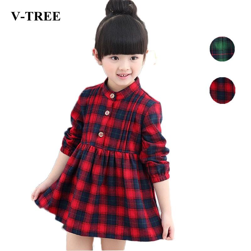 V-TREE 2018 spring cotton plaid long-sleeved dresses for girls children princess dress red/green costumes for girls school dress plaid long sleeve belted midi dress