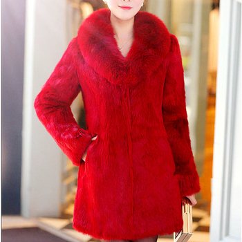 Plus Size M - 7XL Whole Skin Real Rabbit Fur Jackets Women's Natural Fox Fur Collar 9/10 Sleeve Genuine Leather Fur Jacket