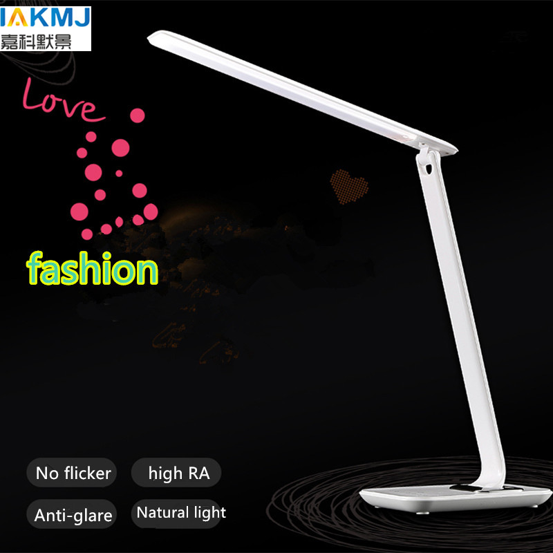 Newest 12W Dimmable LED desk lamp with USB hub,white table lamp 36pcs LEDs and touch sliding adjustment,modern LED table lamp