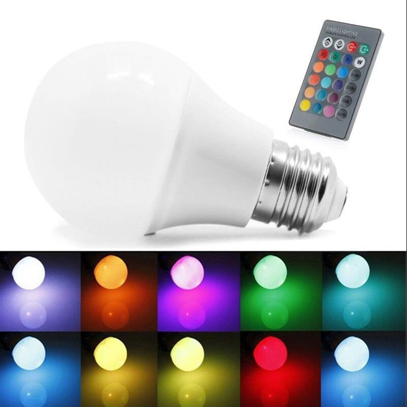 RGB E27 LED High Power Bright Bulbs Lamp 5W 9W 30W 220V LED Mini RGBW Globe Bulb Lampada Colorful With Remote Controller Light