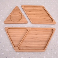Creative Bamboo Tray for Food Storage Separation Nut Plate Modern Tray Platters Living Room Decorative