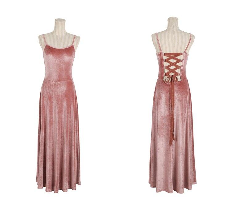 Wade Frauen gerlos Frau Elastizit braunrosa Halfter Samt Kleider Kleid Mitte trmellose Vintage Herbst tr gute elegante der ordWEQCexB