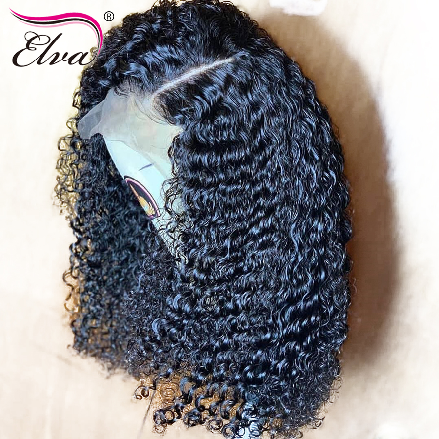 Curly 360 Lace Frontal Wig For Women Short Brazilian Remy Human Hair Wigs With Baby Hair Pre Pluched 180%/250% Density Elva Hair