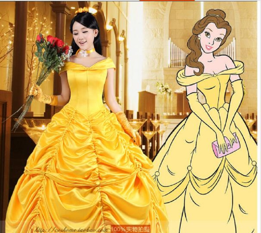 Free Shipping Elegant Discount Fantasia Halloween Costume Women Adult The Beauty And The Beast Belle Costume