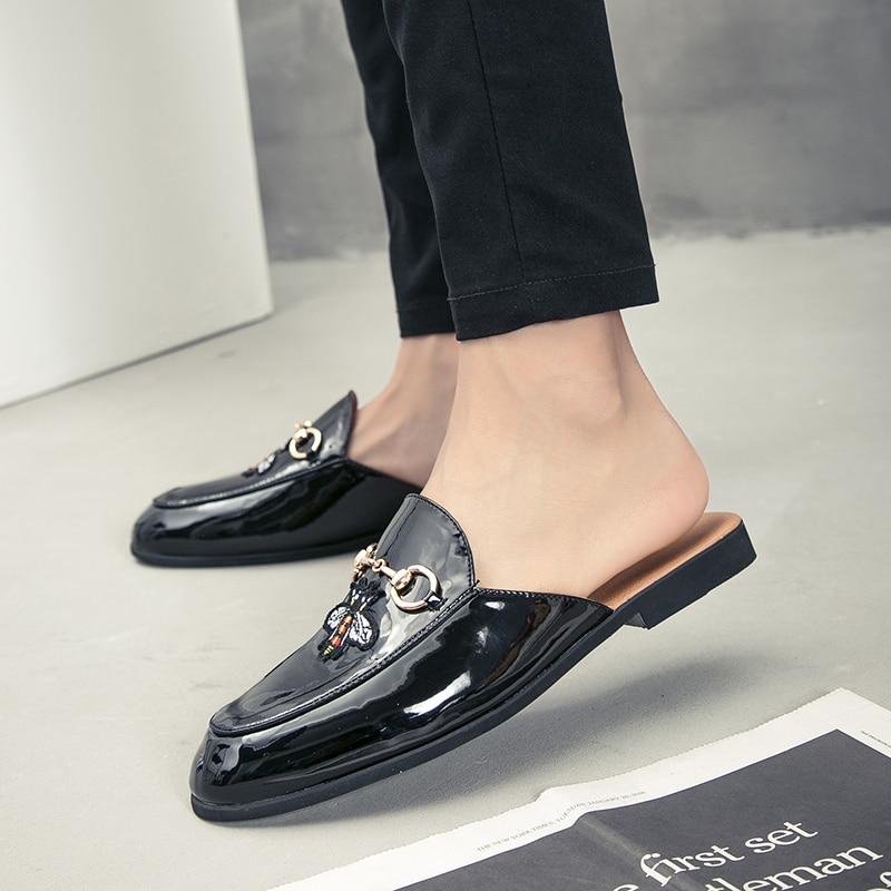 Men Backless dress leather slipper shoes Men unisex Bee prints Horseshoe buckle Casual business wedding Leather shoes women 6