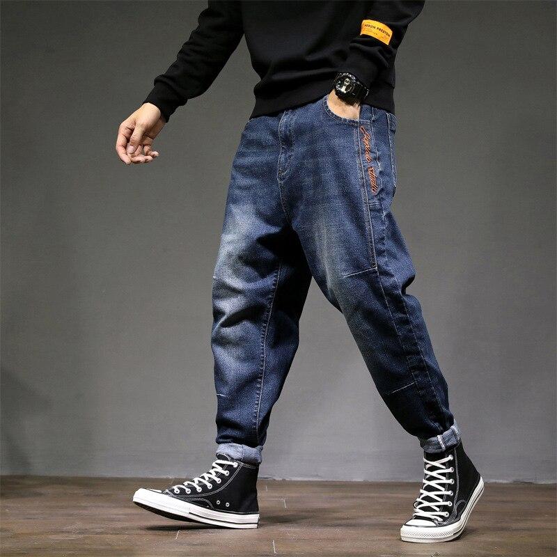 Fashion Streetwear Men Jeans Blue Color Embroidery Design Loose Fit Harem Trousers Taper Cargo Pants Hip Hop Jogger Jeans Homme