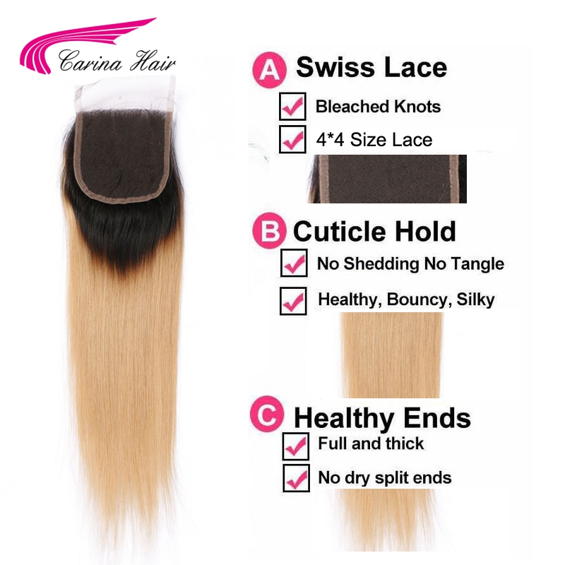 Carina Hair Ombre Color Brazilian Remy Human Straight 1b / 27 # 4 * 4 - Մարդու մազերը (սև) - Լուսանկար 6