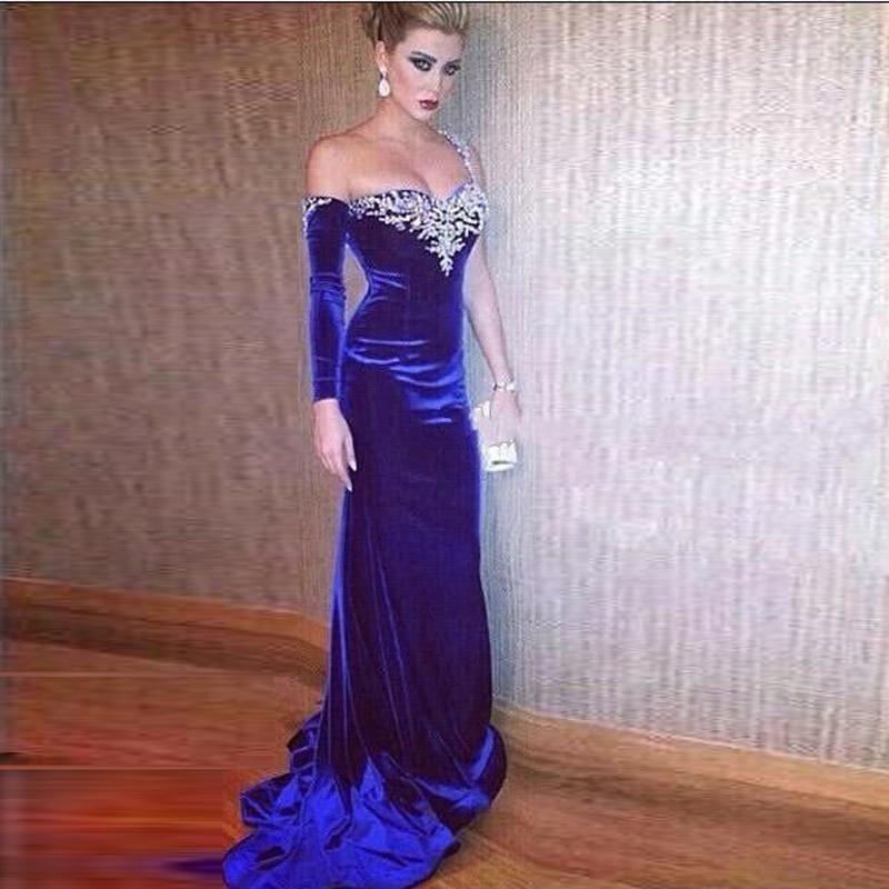 Decente azul real vestido De noche con grano cristalino De novia De ...
