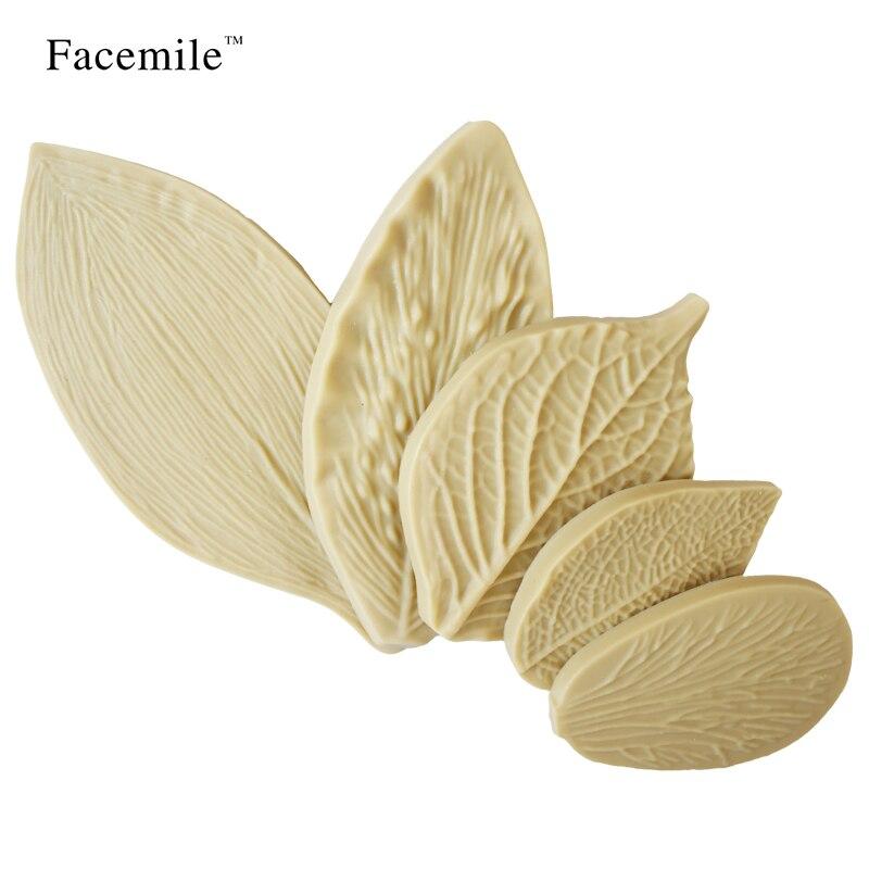 Facemile 5PCS / Set Bakeware Leaf formy ve tvaru silikonové formy dort dekorace Fondant dort silikonové formy 53020 dárek