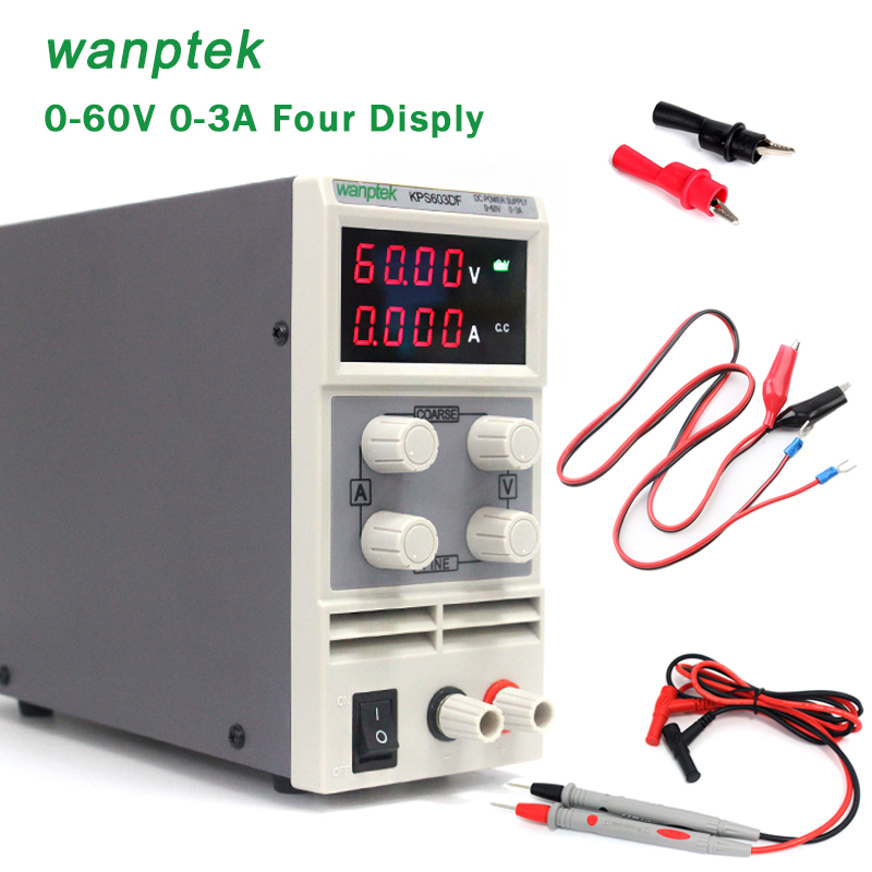 Wanptek KPS603DF 0.01V/0.001A Four display 0 - 60V/0 - 3A Double potentiometer Mini Adjustable DC power supply cps 6011 60v 11a digital adjustable dc power supply laboratory power supply cps6011