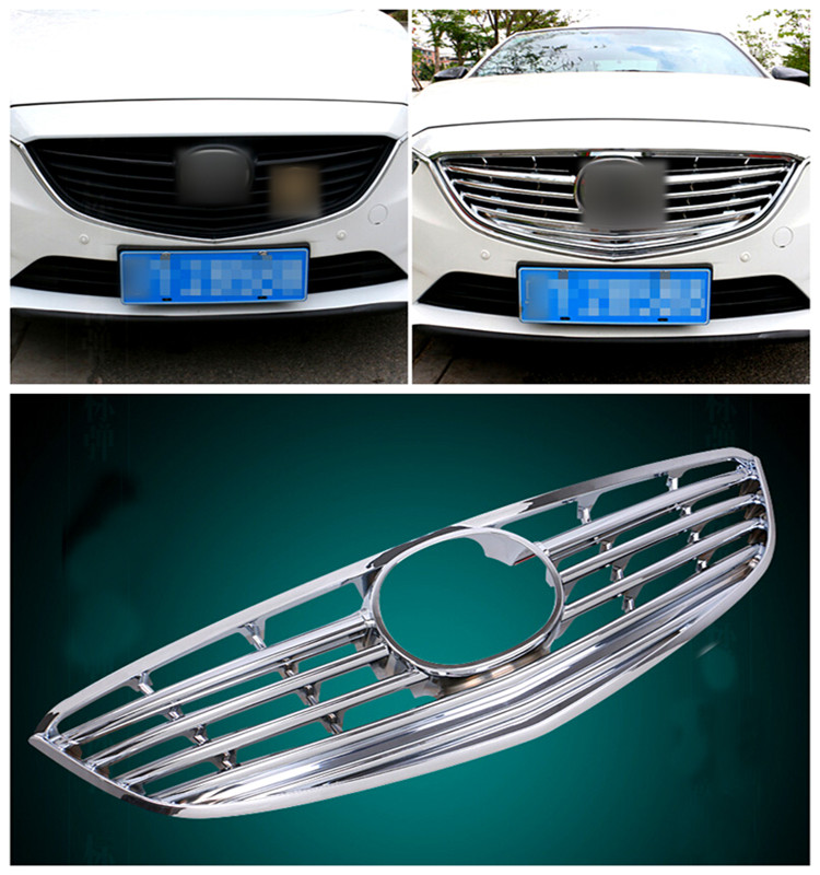 For Mazda 6 M6 Atenza 2013-2015 ABS Chrome Front Center Grille Grill Frame Cover Exterior Chromium Styling Parts 1pcs chrome front hood grill cover trim for 2014 2015 mazda 6 atenza