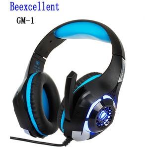 Beexcellent Игровые наушники с микрофоном, светодиодный светильник, стерео игровая гарнитура 3,5 мм, проводные USB наушники для ПК/PS4 геймеров